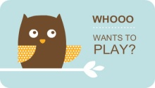 Blue and Brown Owl Play Date Card