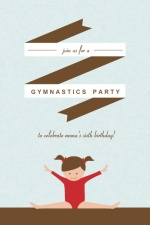 Blue and Red Gymnastics Party Invite