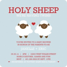 Holy Sheep Blue & Red Twins Shower Invite