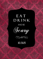 Gothic Red and Black Damask Halloween Party Invitation