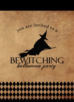 Rustic Black Bewitching Halloween Partyinvitation