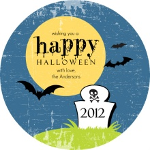 Blue Graveyard Halloween Card