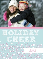 Pink and White Bubbles Holiday Photo Card