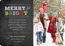 Merry and Bright Chalkboard Holiday Photo Card