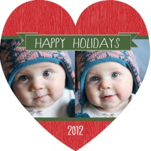 Red and Green Wooden Heart Holiday Photo Card