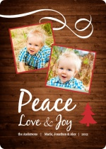 Rustic Peace  Holiday Photo Card