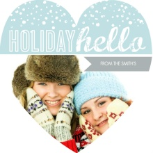 Blue and White Bubbling Hello Holiday Photo Card