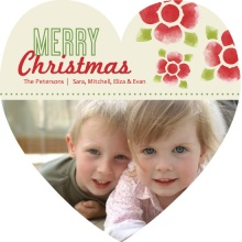Watercolor Flowers  Christmas Photo Card