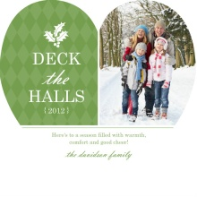 Green and White Heart Christmas Photo Card
