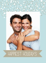 Blue and Taupe Snow Holiday Photo Card