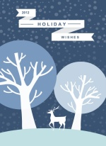 Classic Blue Winters Night Holiday Card