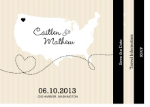 Cream and Black United States Map (Set ) Save the Date