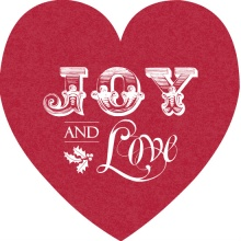 Victorian Red Joy and Love Heart Holiday Card