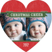 Rustic Red Wood Grain Christmas Photo Card