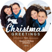 Xmas Greetings Heart Shaped Christmas Card