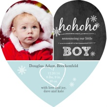 Chalkboard and Snowflake Holiday Baby Announcement