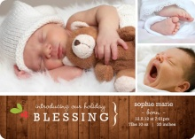 Rustic Blessings Holiday Photo Birth Announcement