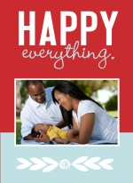 Happy Everything Red and Blue Photo Birth Announcement