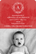 Red Festive Elegance Holiday Birth Announcement
