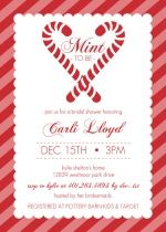 Candy Cane Stripe Mint To Be Holiday Bridal Shower Invite