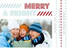 Modern Red and Blue Stripes  Holiday Booklet Card