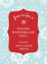 Blue Winter Wonderland Ball Holiday Party Invite