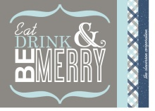Blue and Gray Modern Gingham Holiday Party Invite