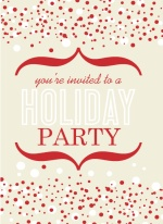Red and White Cheerful Bubbles Holiday Party Invite