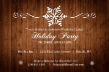 Rustic Snowflake Business Holiday Party Invite