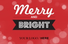 Merry and Bright Red Business Holiday Card