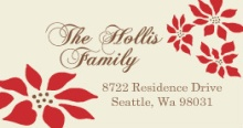 Wood Grain And Poinsettia  Holiday Address Label