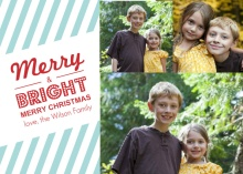 Retro Stripes Christmas Photo Card
