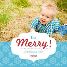 Retro Blue Photo Christmas Card