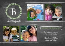Chalkboard Monogram Christmas Photo Card