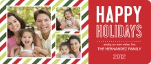 Happy Holidays Festive Stripes Photo Card