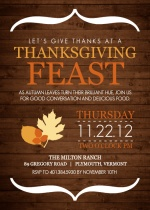 Modern Wood Grain and Leaves Thanksgiving Invitation