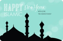 Turquoise & Black Islamic New Year Card