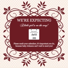 Maroon and Polka Dots Photo Pregnancy Announcement