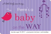 Little Birdie Purple Pregnancy Announcement