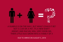 Red Icons Rhyming Pregnancy Announcement