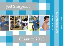 Graduation Announcement Blue Plaid Booklet