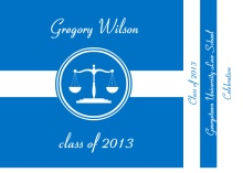 Graduation Invitation Blue and White Lawyer Booklet