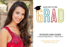 Graduation Invitation Colorful Grad Cap