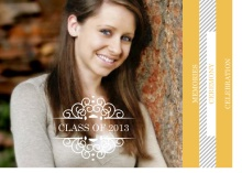 Graduation Invitation Yellow Decorative Frame and Stripes