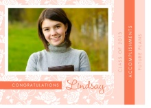Graduation Announcement Peach Floral