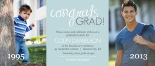 Graduation Invite Blue and Gray Congrats