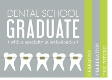Graduation Invitation Gray and Green Dentist Graduation