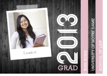 Graduation Invitation Gray Woodgrain and Pink Photo Booklet