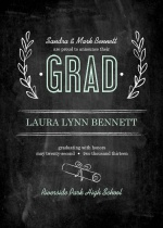 Graduation Announcement Chalkboard Mint Green Floral