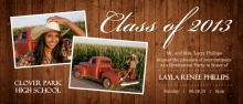 Graduation Invitation Rustic Wood Grain Collage